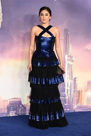 """Rosa Salazar who plays the titular character in the film """"Alita: Battle Angel"""" rocked the blue carpet with a blue sequined gown by Sonia Rykiel at the movie's premiere held at the Odeon Leicester Square in Luxe Cinema on Thursday (January 31) in London, England. (Photo courtesy of Sonia Rykiel)"""