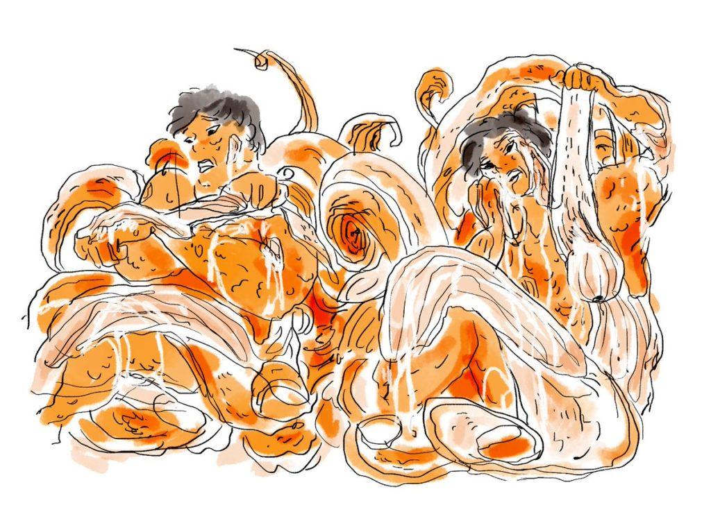 Illustration de la BD Chromatopsie de Quentin Zuttion : jeune femme qui arrache sa peau comme on pèle une orange.