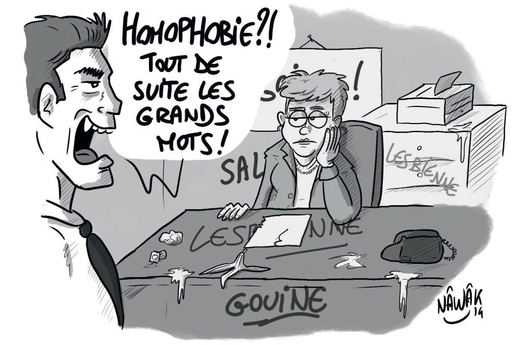 """Homophobie au travail : une employée lesbienne a son bureau saccagé et taggué avec des insultes homophobes, con patron lui dit """"homophobie?! tout de suite les grands mots"""""""