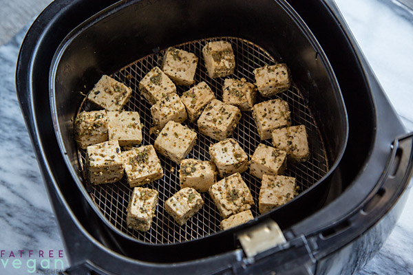 Italian Style Tofu in the Air Fryer Before Cooking