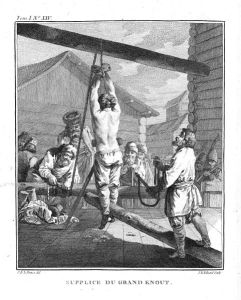 Punishment with a knout. Blacks are not the only ones who can claim to have ancestors that were slaves.
