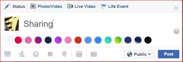 Screen shot of where to set option in Facebook, as to who will be able to see a posting or a comment that one wishes to share with FB friends