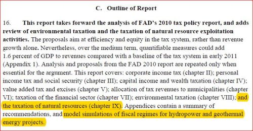 Renewable Energy : used in Iceland to generate tax revenues - IMF report, p. 15