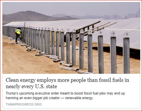 How renewable energy serves to pull the wool over the eyes of people: Clean energy employs more people than fossil fuels..., of course it does. That is evidence of how inefficient and costly it is.