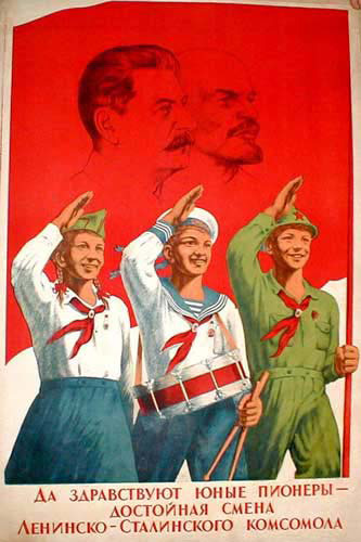 USSR propaganda poster, promoting membership int Pioneers