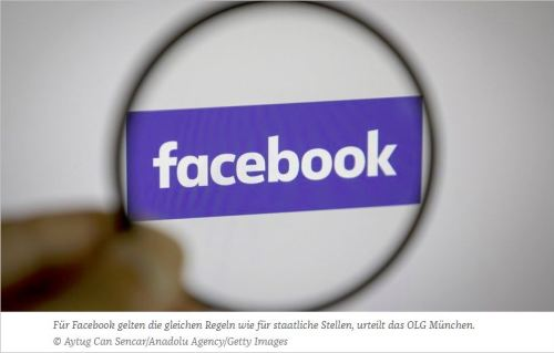 Caption: For Facebook, the same rules apply as for government agencies, decides the OLG Munich [Higher Regional Court Munich].