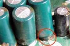 Аналық тақтаны тексеру - кептірілген конденсаторлар