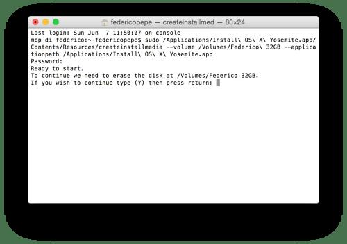 Formattare Mac, creare chiavetta USB con Yosemite