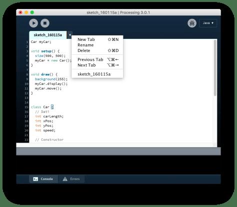 Crea una nuova Tab su Processing
