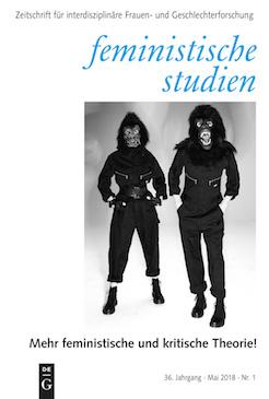 Cover Ausagbe 1/2018 Mehr feministische Theorie! - zeigt: Zwei stehende Personen mit Arbeitsanzügen und Affenmasken