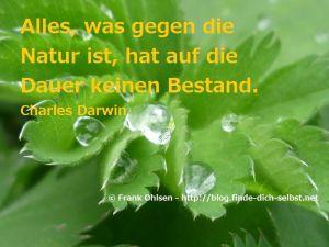 Alles, was gegen die Natur ist, hat auf die Dauer keinen Bestand.  Charles Darwin