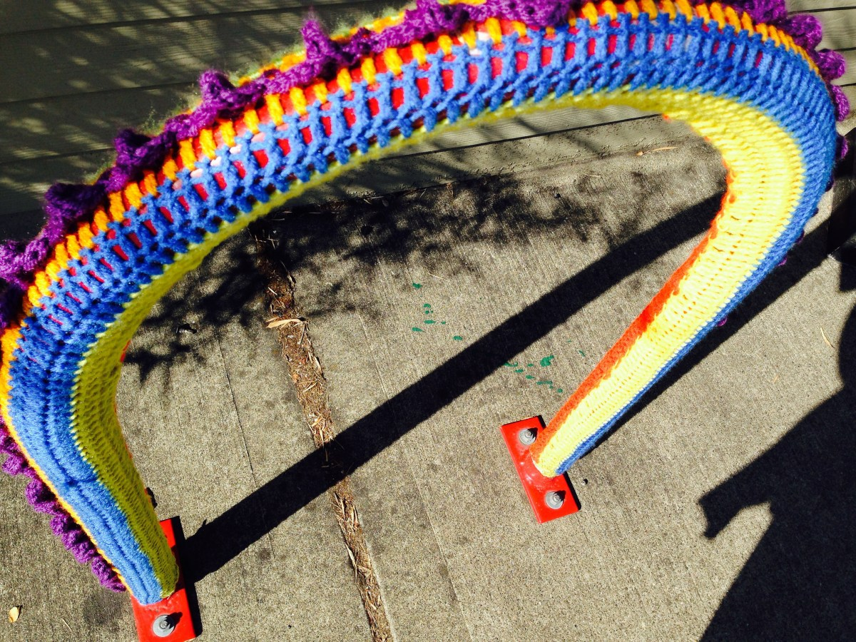 Yarn Bombed Bike Racks
