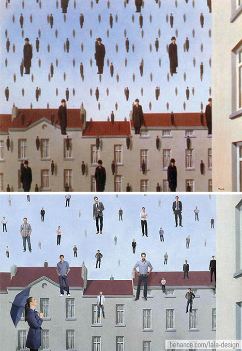 "Ad based on Belgian surrealist painter René Magritte's ""Raining Men"""