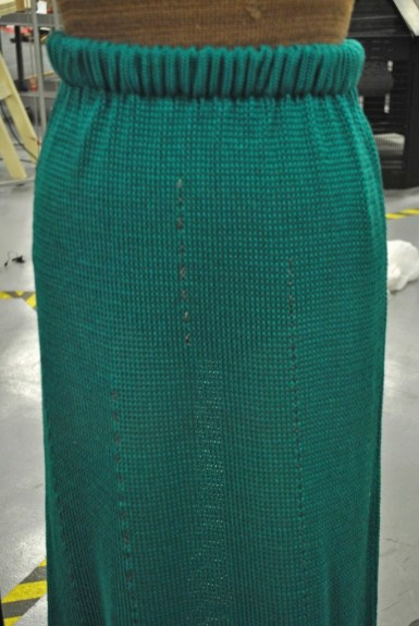 miss stitch skirt with chains closeup.