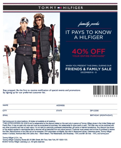 Tommy Hilfiger Friends and Family discount