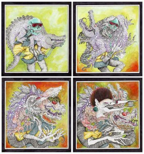 "The title of my piece is called ""The Melting Point,"" and this piece is an interpretation of transformation. In the first panel, you can see two creatures in their original forms. In the next two panels, they start mutating or transforming with the result being on the last panel. The physical form of the alligator changes into a different creature, but some of its original features are still on the outside. The skeletons outside appearance changes completely, but his original form is underneath his new one."