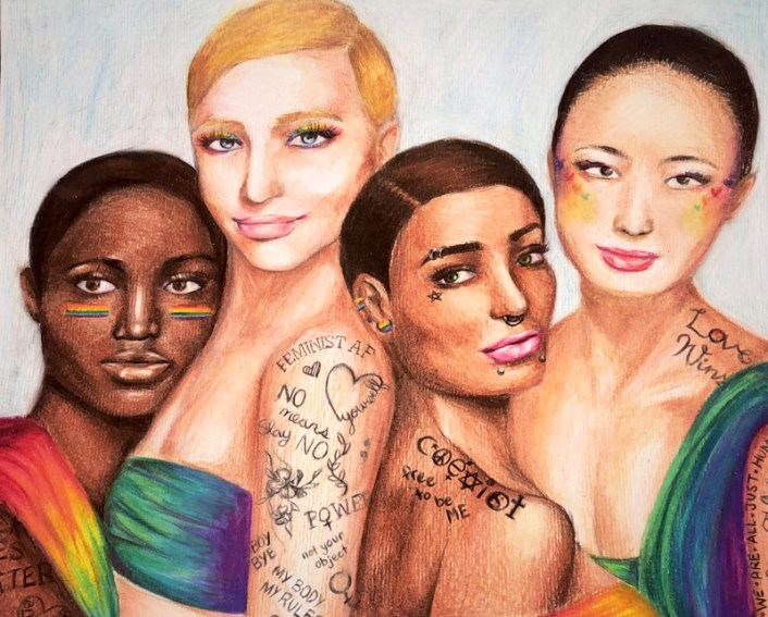 illustration of four women