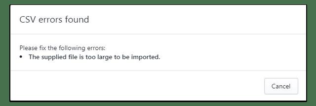 large csv import error