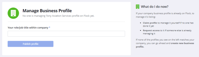 Manage Business Profile in Flock