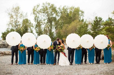 Flora Nova Design Seattle - Colorful Indian Wedding at the Edgewater Hotel. Dahlia Bouquet with Ribbon Streamers, Turquoise Bridesmaids dresses