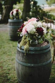 Flora Nova Design Seattle -Romantic DeLille Cellars Wedding. Winery Wedding with Burgundy, Blush, and Cream Dahlia Centerpieces