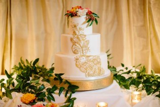 Flora Nova Design Seattle - Colorful Indian Wedding at the Edgewater Hotel. Henna Wedding Cake