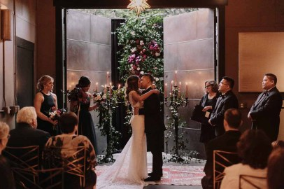 Flora Nova Design Seattle Luxe JM Cellars Wedding. Greenery Wall as Ceremony Backdrop: Smilax, Taper Candles, Candelabra, Burgundy, Red Roses