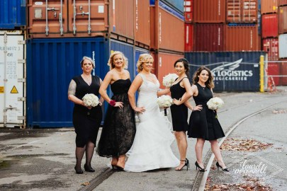 Flora Nova Design Seattle Luxury White Wedding Sodo Park Bridal Party with bouquets