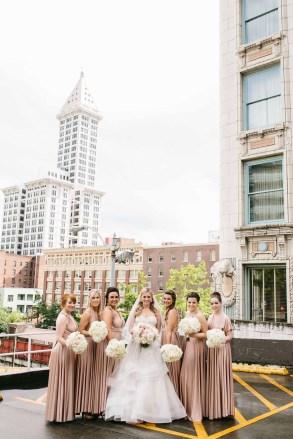 Flora Nova Design Seattle - Seattle downtown blush wedding party