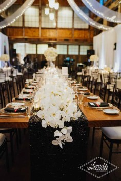 Flora Nova Design Seattle Luxury White Wedding Sodo Park Orchid head table
