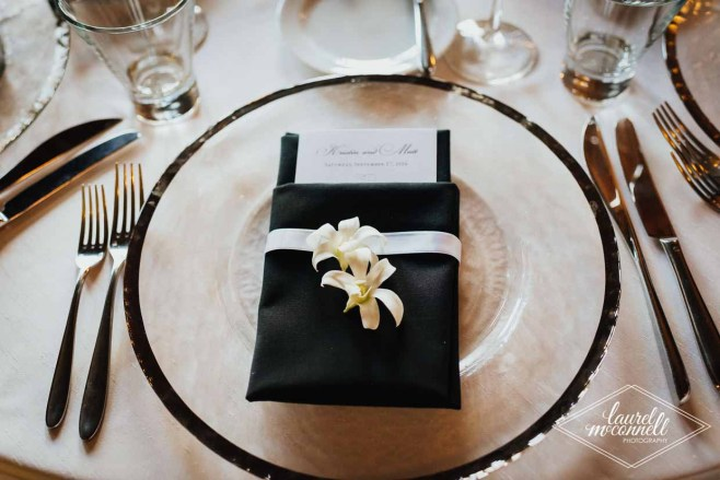 Flora Nova Design Seattle Luxury White Wedding Sodo Park Napkin Flower