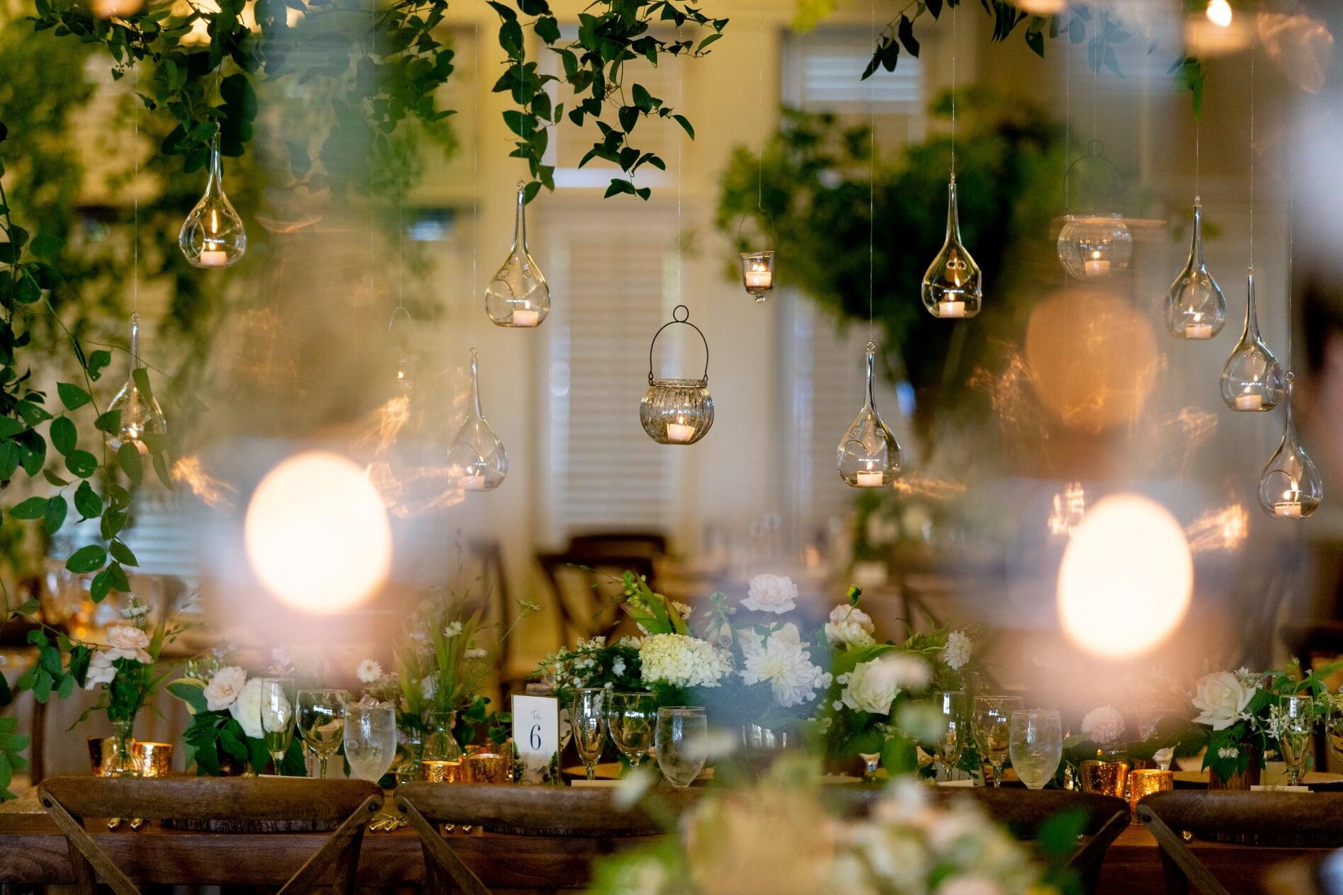 Detail shot of midsummer night's dream wedding reception