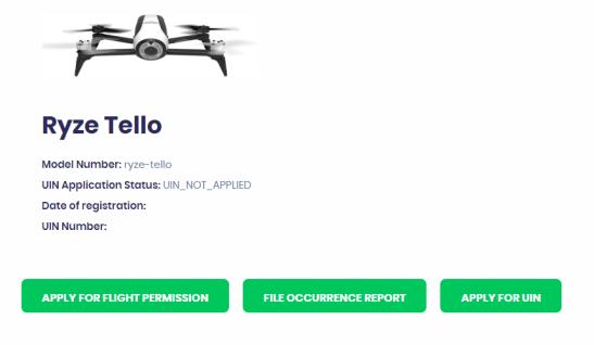 Digital Sky App: Drone Action Menu
