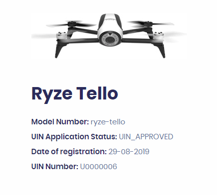 Digital Sky App:  A drone with approved UIN