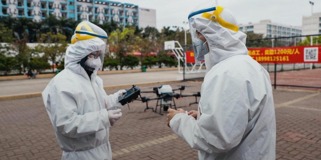 coronavirus outbreak drones. DJI disinfectant drones