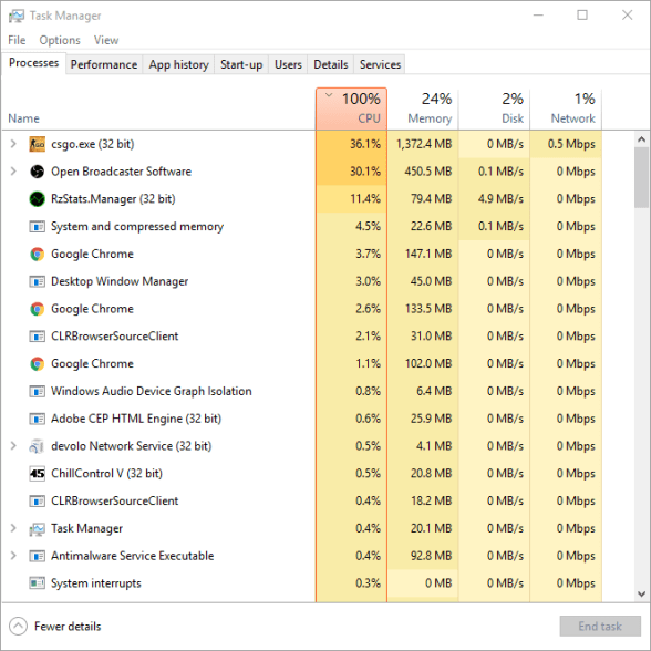 CPU issues when streaming and playing games on Twitch