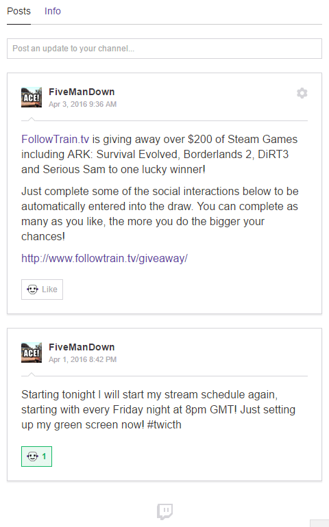 Twitch Channel Feed Updates