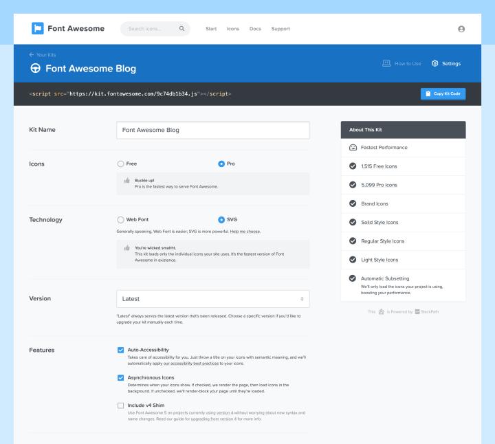 a pro kit settings screen