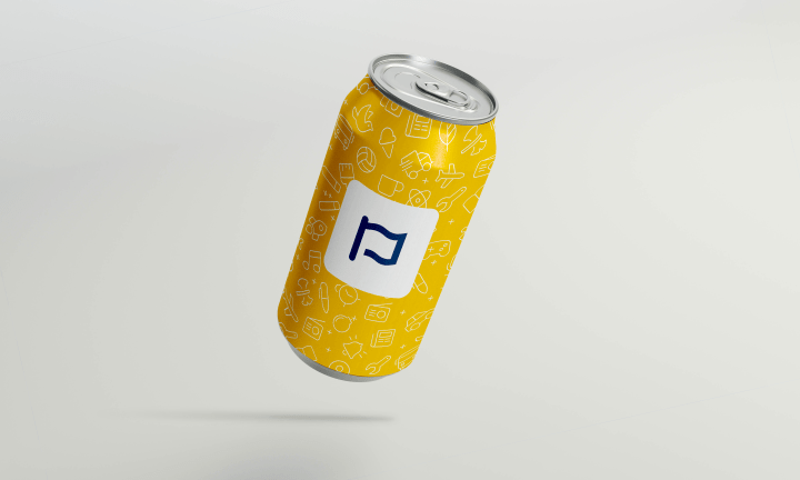 An image of a beer can wrapped in a design of a selection of icons and the font awesome logo.