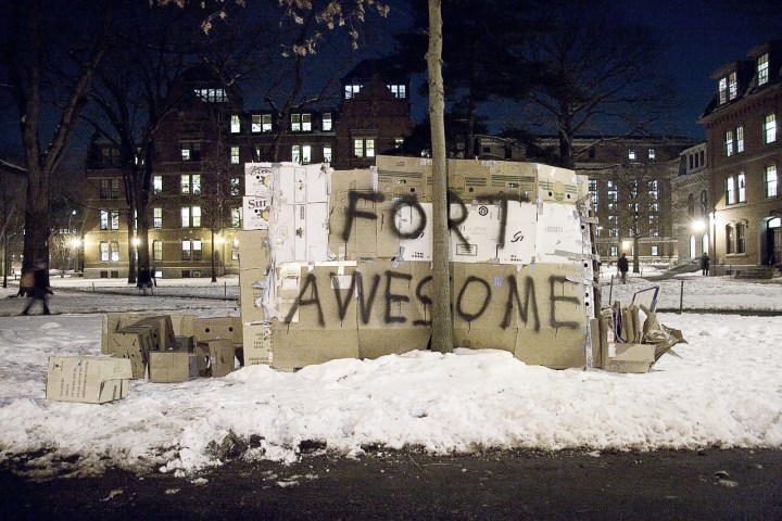 Image of a large cardboard fort with the words Fort Awesome spray-painted across the front.