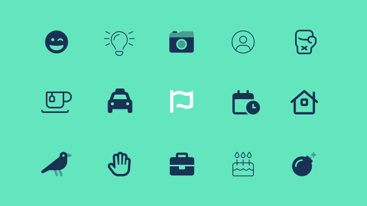 The flag logo set among a number of icons from Font Awesome 6