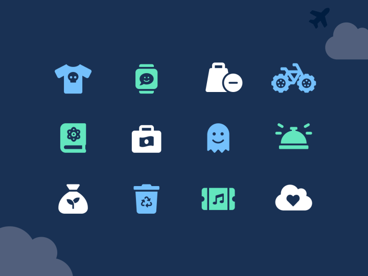 Examples of custom icons created from Font Awesome icons.