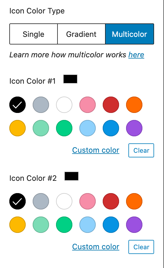 Screenshot of editor choosing icon multicolor options.