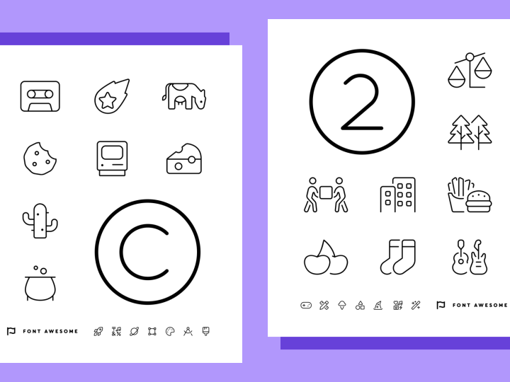 Font Awesome's letter and number-based coloring sheets.