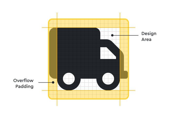 A truck icon with guidelines and padding.