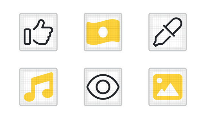 A selection of icons on icon grids.