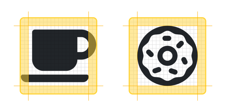 A coffee cup and a donut icon.