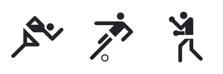 Three olympic pictograms (a person running, a person playing soccer, and a person boxing) by Otl Aicher.