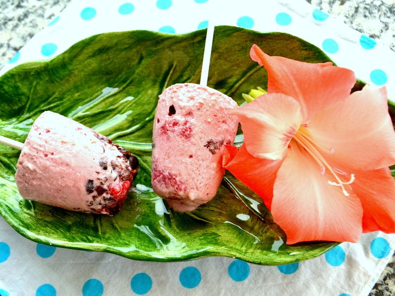 Kokosyoghurt-Himbeer-Eis mit Cacao Nibs