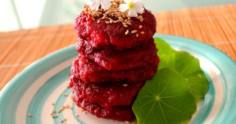 Hamburger di barbabietola rosse e semi di chia
